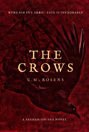 Cover image is a deep red, with a crow flying down from left to right. It's feathers appear to fade into smoke or insectoid legs or maybe something else. In the centre the title of the book